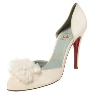 حذاء كعب عالي كريستيان لوبوتان بيبا فرو ساتان أبيض مقاس 40