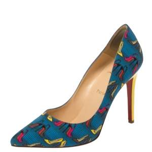 Christian Louboutin Multicolor Printed  Fabric Pigalle Pumps Size 40.5