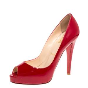 Christian Louboutin Red Patent Leather Hyper Prive Peep Toe Platform Pumps Size 37.5