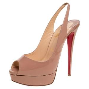 Christian Louboutin Beige Patent Leather Lady Peep Slingback Platform Sandals Size 40