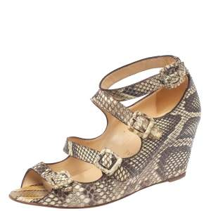 Christian Louboutin Beige Python Caged Buckle Wedge Sandals Size 38
