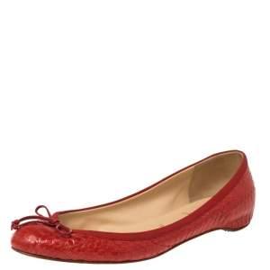 حذاء فلات كريستيان لوبوتان جلد ثعبان أحمر مقاس 38