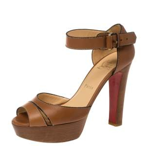 Christian Louboutin Brown Leather Ankle Strap Platform Sandals Size 38