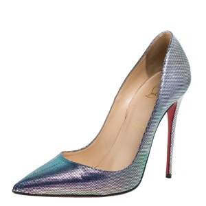 Christian Louboutin Multicolor Disco Iridescent Leather So Kate Pumps Size 38.5