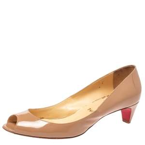 Christian Louboutin Beige Patent Leather You You Peep Toe Pumps Size 40