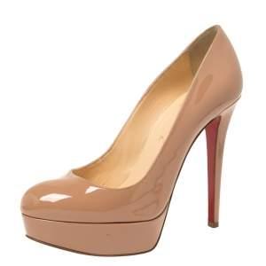 حذاء كعب عالي كريستيان لوبوتان نعل سميك بيانكا جلد لامع بيج مقاس 38.5