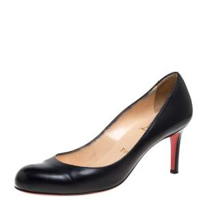 Christian Louboutin Black Leather New Simple Pumps Size 37