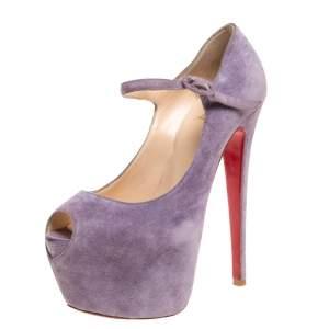 Christian Louboutin Purple Suede Daffodile Mary Jane Peep Toe Platform Pumps Size 37