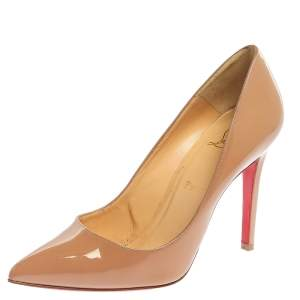 Christian Louboutin Beige Patent Leather Pigalle Pointed Toe Pumps Size 38