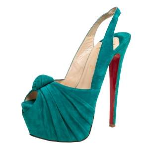 Christian Louboutin Green Suede Jenny Knotted Slingback Platform Sandals Size 37.5