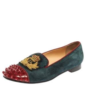 Christian Louboutin Blue/Red Suede And Patent Spiked Cap Toe Harvanana Smoking Slipper Size 37.5