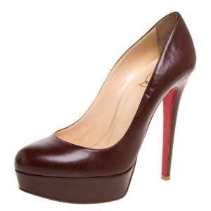 """حذاء كعب عالي كريستيان لوبوتان """"بيانكا"""" نعل سميك جلد بني مقاس 38"""