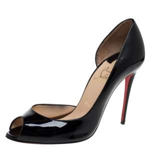 Christian Louboutin Black Patent Leather Galu D'orsay Peep Toe Pumps Size 39