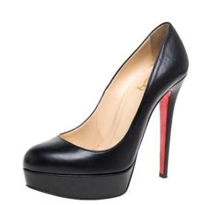 Christian Louboutin Black Leather Bianca Platform Pumps Size 38