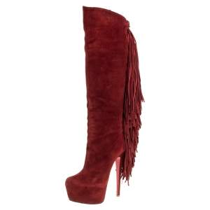 حذاء بوت ركبه كريستيان لوبوتان مزين شراشيب أنترلوبا نعل سميك سويدي أحمر مقاس 36.5