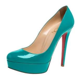 """حذاء كعب عالي كريستيان لوبوتان """"نيو سيمبل"""" نعل سميك جلد لامع أزرق مخضر مقاس 37.5"""