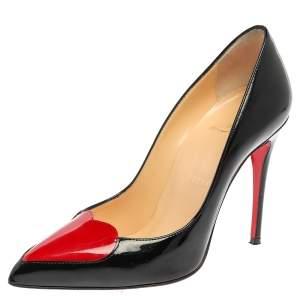 """حذاء كعب عالي كريستيان لوبوتان """"دوراكورا"""" قلب أحمر جلد لامع أسود مقاس 35"""
