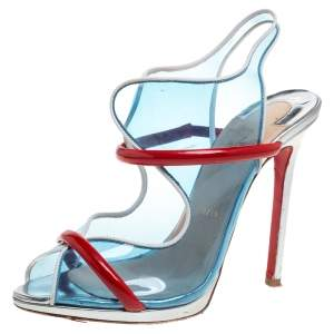 Christian Louboutin Blue/Red PVC And Patent Leather Aqua Ronda Sandals Size 39