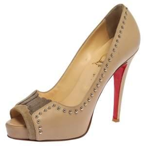حذاء كعب عالي كريستيان لوبوتان نعل سميك ديسكوتا بمقدمة مفتوحة جلد بيج مقاس 37.5