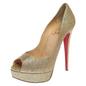 حذاء كعب عالي كريستيان لوبوتان ليدي مقدمة مفتوحة و نعل سميك غليتر ذهبي مقاس 37