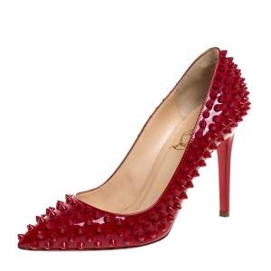 Christian Louboutin Red Patent Leather Pigalle Spikes Pointed Toe Pumps Size 38