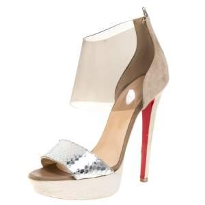 Christian Louboutin Metallic Silver Python Leather and PVC Dufoura Platform Sandals Size 38