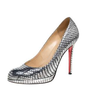 Christian Louboutin Silver Python New Simple Platform Pumps Size 39