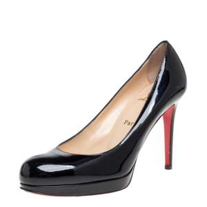Christian Louboutin Black Patent Leather New Simple Pumps Size 37
