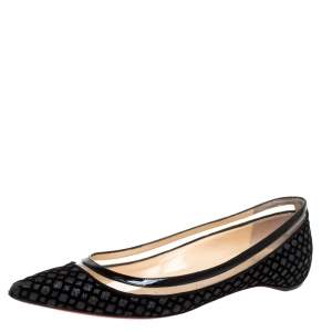 Christian Louboutin Black Velvet, Leather And Floque Glitter Paulina Ballet Flats Size 38