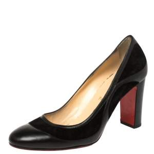 Christian Louboutin Black Leather and Suede Marple St 85 Pumps Size 40