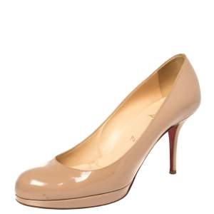 Christian Louboutin Beige Patent Leather New Simple Pumps Size 40