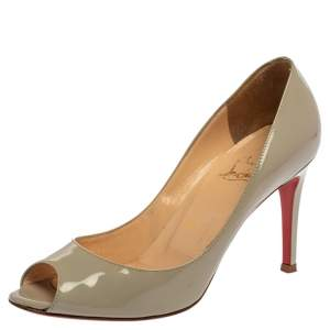 Christian Louboutin Grey Patent Leather Youyou Peep Toe Pumps Size 36