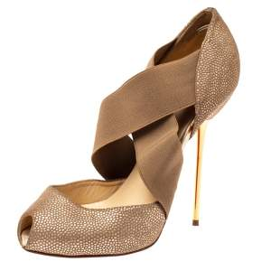 Christian Louboutin Metallic Beige Textured Leather and Criss Cross Elastic Peep Toe Pumps Size 38