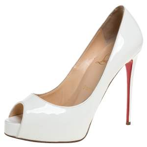 Christian Louboutin White Patent Leather New Prive Platform Peep Toe Pumps Size 36