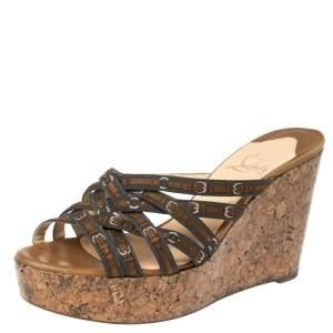 Christian Louboutin Brown/Grey Buckle Print Fabric Cork Wedge Slide Sandals 39