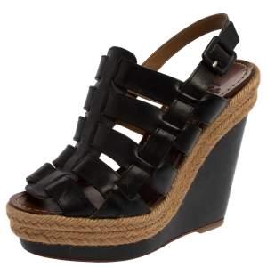 Christian Louboutin Black Leather Barcelona Gladiator Wedge Platform Espadrille Slingback Sandals Size 36