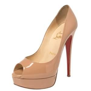 Christian Louboutin Beige Patent Leather Lady Peep Toe Platform Pumps Size 36
