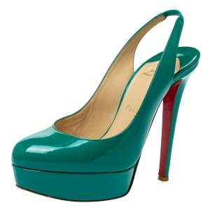 Christian Louboutin Green Patent Leather Slingback Platform Pumps Size 36