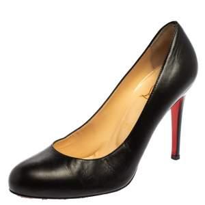 حذاء كعب عالى كريستيان لوبوتان نيو سيمبل جلد أسود مقاس 39.5