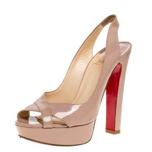 Christian Louboutin Beige Patent Leather Marpoil Peep Toe Platform Slingback Sandals Size 37.5