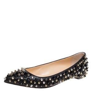 حذاء فلات باليه كريستيان لوبوتان سبايك بيغال جلد أسود مقاس 35.5
