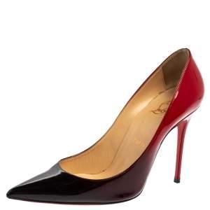 """حذاء كعب عالي كريستيان لوبوتان """"سو كات"""" جلد لامع اومبري أحمر و أسود مقاس 38.5"""