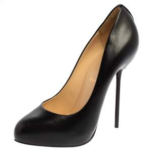 حذاء كعب عالي كريستيان لوبوتان نعل سميك جلد أسود مقاس 38.5