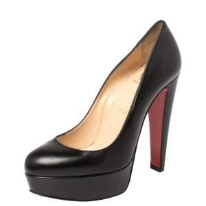 حذاء كعب عالي كريستيان لوبوتان نعل سميك جلد أسود مقاس 35