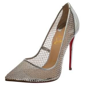 """حذاء كعب عالي كريستيان لوبوتان """"فوليس ريسيل"""" مقدمة مدببة جلد و شبك فضي مقاس 35.5"""