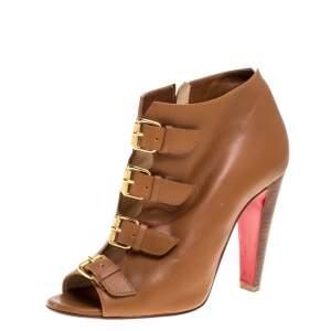 حذاء بوت كريستيان لوبوتان مزين إبزيم ذهبي مقدمة مفتوحة جلد بني مقاس 36