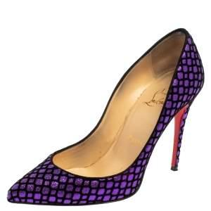 Christian Louboutin Purple/Black Glitter And Velvet Pigalle Follies Pumps Size 36