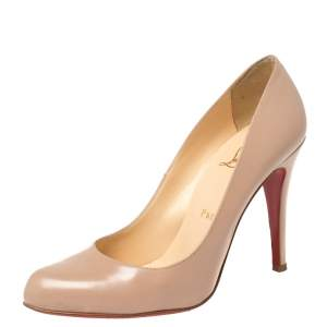 Christian Louboutin Beige Leather Simple Pumps Size 37.5