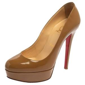 Christian Louboutin Beige Patent Leather Bianca Platform Pumps Size 37