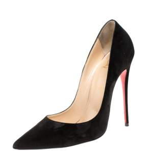 Christian Louboutin Black Suede So Kate Pointed Toe Pumps Size 39.5